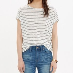 Madewell 100% Linen Miracle Tee navy/white striped